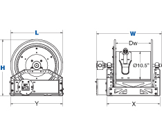 Dimensions for 1600 Series Hand Crank Reels from Coxreels