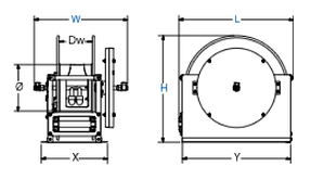 Dimensions for E Series Spring Driven Reels Reels from Coxreels