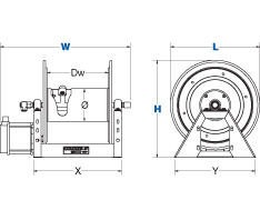 Dimensions for 1125 Pure Flow Series motorized Reels from Coxreels