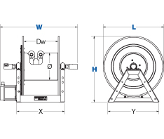 Dimensions for 1275W Series motorized Reels from Coxreels