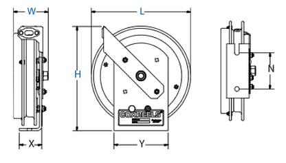 Dimensions for SD Series Spring Driven Reels from Coxreels