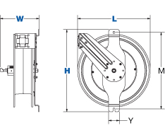 Dimensions for SGW Series Spring Driven Reels from Coxreels